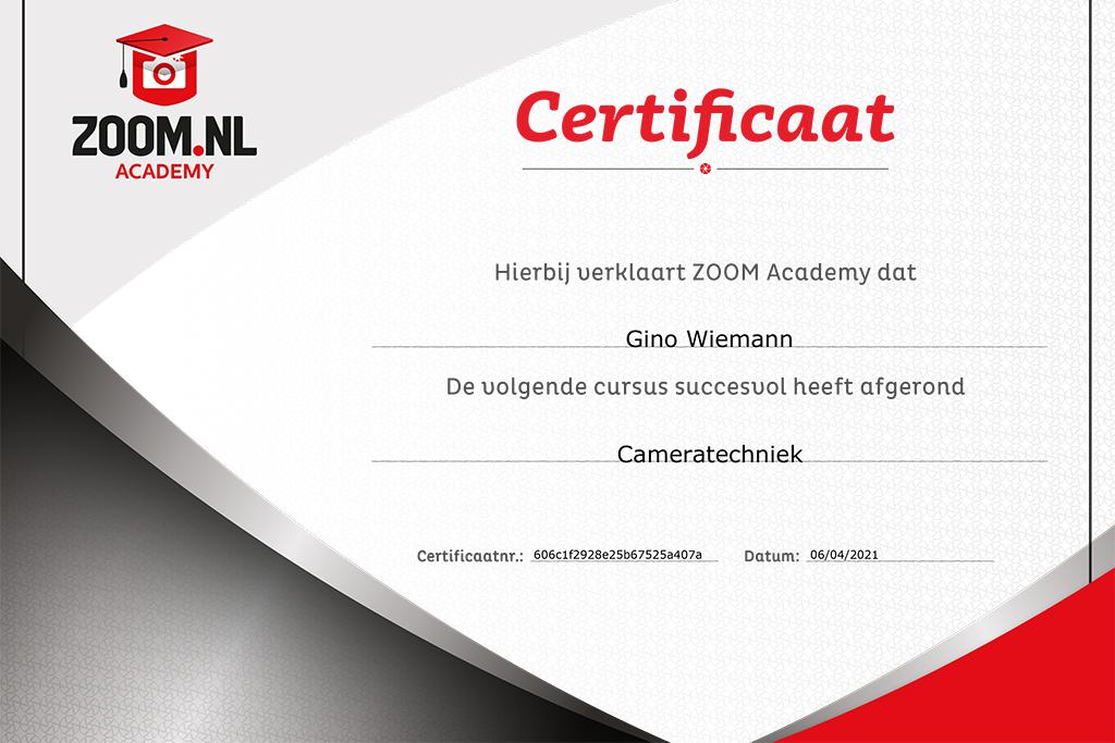 Zoom certificate cameratechniek - Gino Wiemann